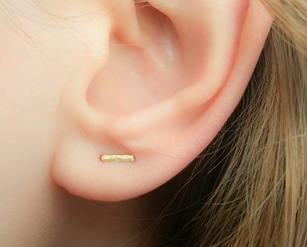 04a4c7ea622ea Gold Double Piercing Two Hole Earring Tiny Multiple Lobe Staple Stud Bar  Posts