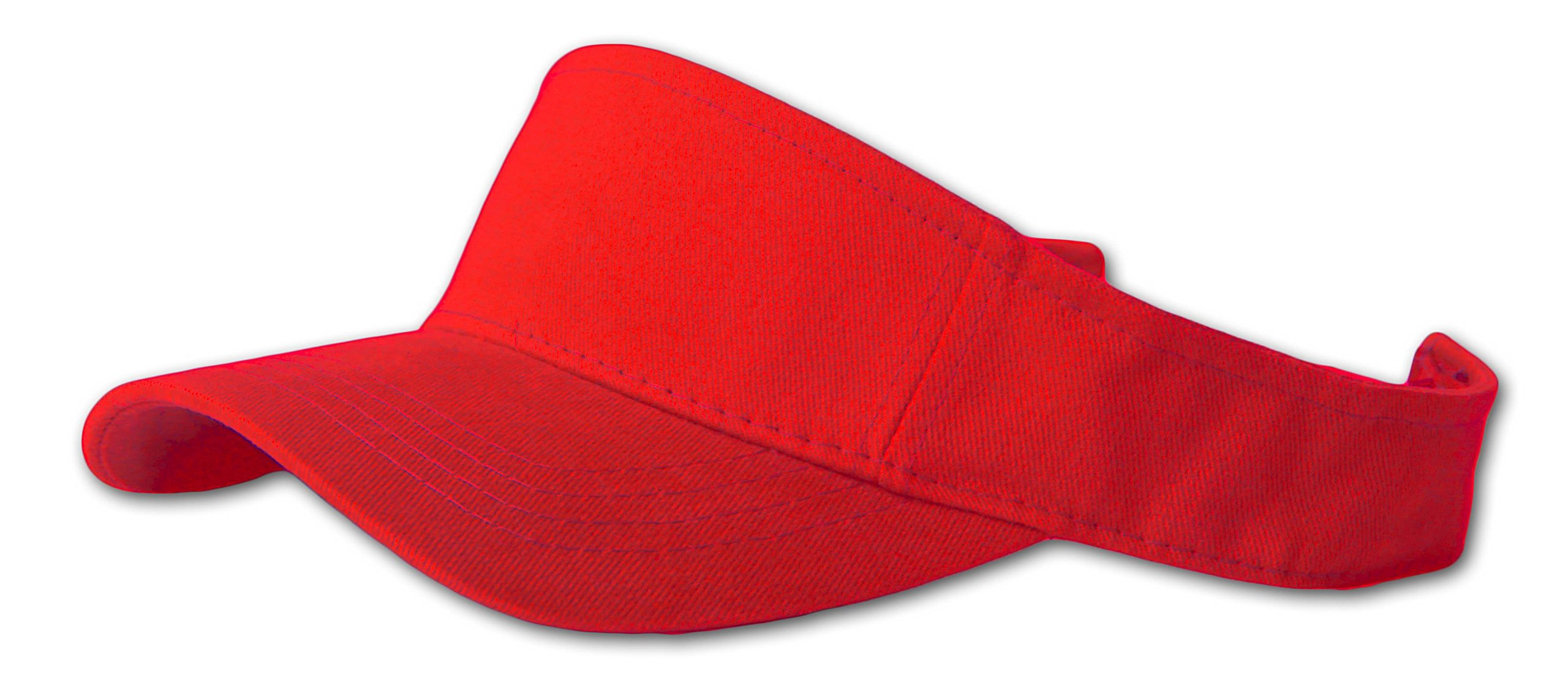 12 Lot (One Color) Visor Caps- Red