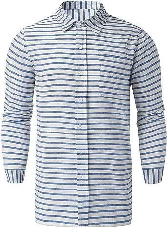 Camisas Manga Larga Hombre, Camisa Hombre Slim Fit Camisa de Vestir de Rayas Verticales en Contraste para Hombre Camisa de Manga Larga AlgodóN de Manga Larga CóModa de AlgodóN: Amazon.es: Ropa y