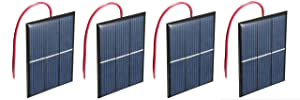 AMX3d Micro Mini Solar Cells Multipack– 1.5V 400mA Compact 80 x 60mm Solar Panels – Power Home DIY Projects, Toys & Battery Chargers, 4 Pcs