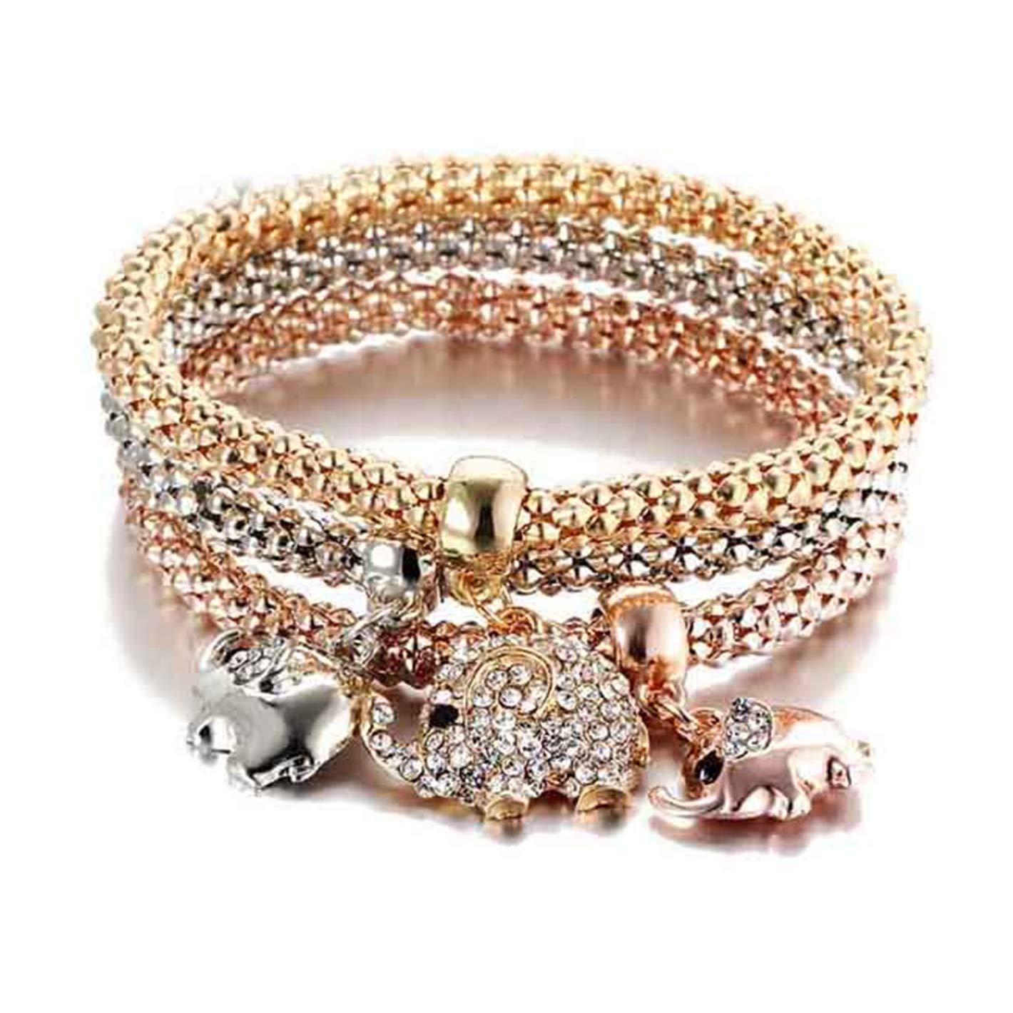 New 3Pcs Gold Color Crystal Owl Charm Bracelets for Women Elephant Anchor Bracelet Multilayer Bangles pul