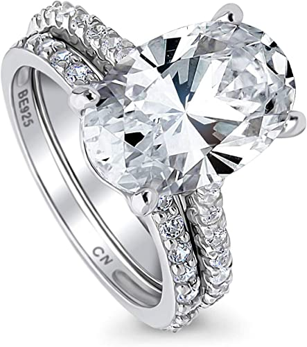 6*8mm Oval Cut Cubic Zirconia Ring White Gold Plate Gemstone Ring Handmade Engagement Ring Sliver Ring