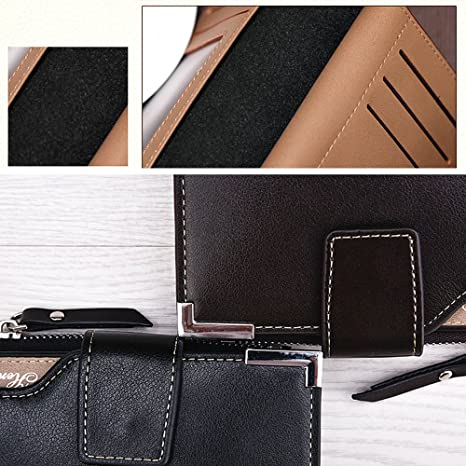 iVotre Vertical Section Trifold Wallet with Snap/&Zipper Closure for Men