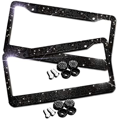JUSHACHENGTA Bling Bling License Plate Frames -2 Pack-8 Row Pure Handmade Waterproof Glitter Rhinestones Crystal License Frames Plate for Cars with 2 Holes with Screws Caps Set: Automotive