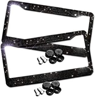 Stainless Steel Frames Sparkle Glass Diamond Decorate Anti-Theft Screw Cap Pack of 2 Kooun Customized Bling Car License Plate Frame with Black Rhinestone Universal Car Exterior Accessories