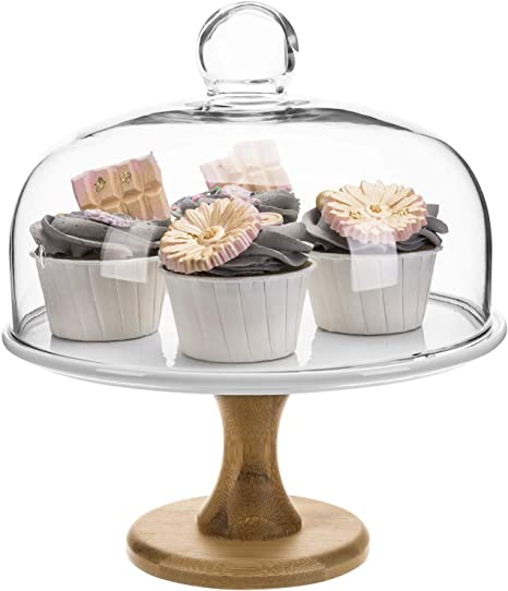 Clear Acrylic Cupcake Cake Stand Dessert Display Holder Plate w// Dome Lid  CA