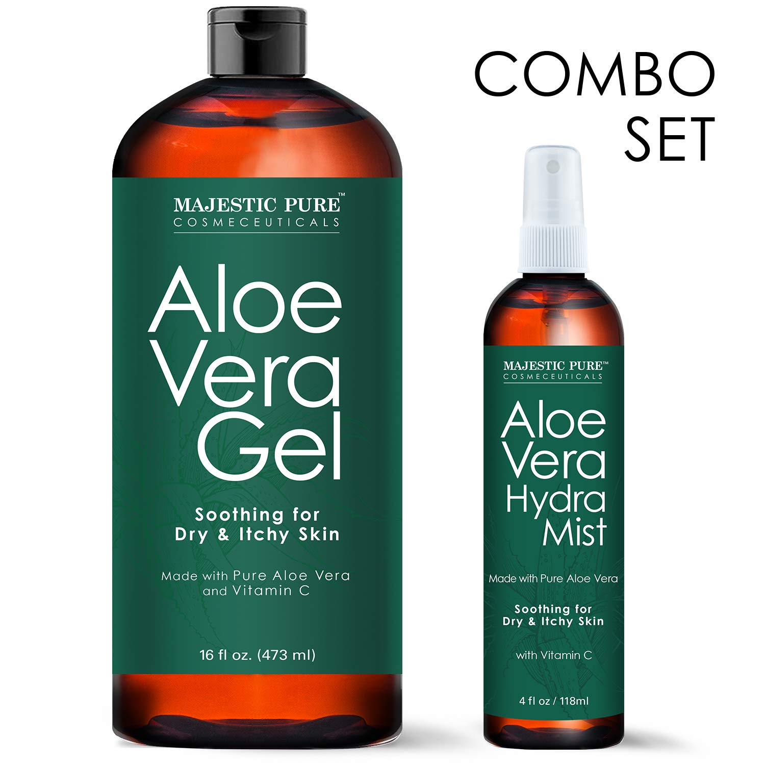 MAJESTIC PURE Aloe Vera Gel and Mist Super Combo - 16 oz Gel and 4 oz Hydra Spray - 100 Percent Pure and Natural Cold Pressed Aloe Vera for Hair Growth, Face, Body and Skin by Majestic Pure