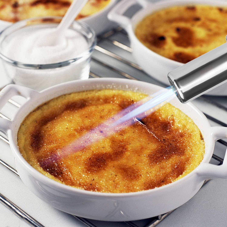 Soplete para cocina, recargable con gas, para preparar crema catalana, llama ajustable, con bloqueo de seguridad, especial para barbacoas, ...