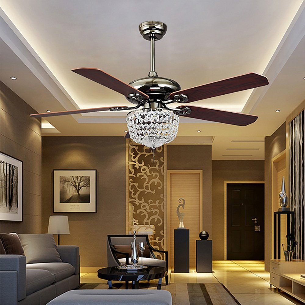 COLORLED American Luxury Crystal Antique Wood 5-Leaves 52 Inch Pull Switch Ceiling Fan for Living Room Bedroom Dining Room Led Fan Chandelier Lighting Fixture