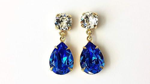 Amazon.com: Swarovski Sapphire Crystal Drop Earrings Blue Gold ...