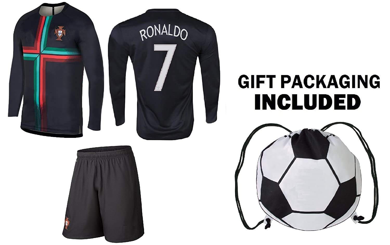 promo code 74614 29658 PFC Ronaldo Jersey Portugal Away Long Sleeve Kids Soccer Cristiano Ronaldo  Jersey Soccer Gift Set Youth Sizes ✓ Premium Quality ✓ Soccer Backpack Gift  ...