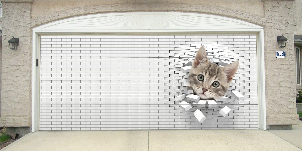 Re-Usable 3D Effect Garage Door Cover Billboard Sticker Decor Skin - Cat through brick - Sizes to fit your Garage.