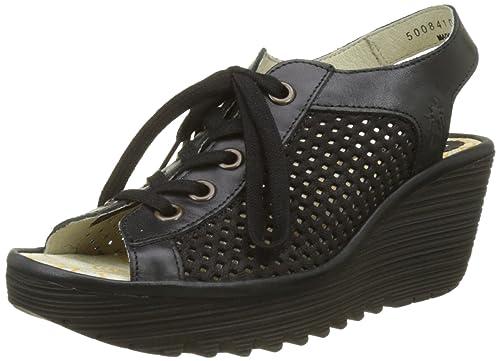 de51a672 Fly London Women Yeki841Fly Sandals, Black (Black/Black), 4 UK (
