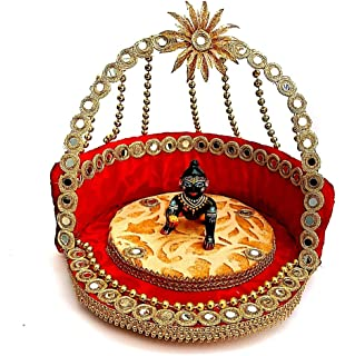 Krishnagallery Laddu Gopal Mirror Bed Singhasan Luxury Look for Kanha ji