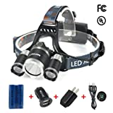 Waterproof Headlamp Headlight, Mifine Super Bright 4 Modes LED Flashlight with Rechargeable Batteries, Wall Charger and Car Charger Suitable for Hiking Camping Riding Fishing Hunting