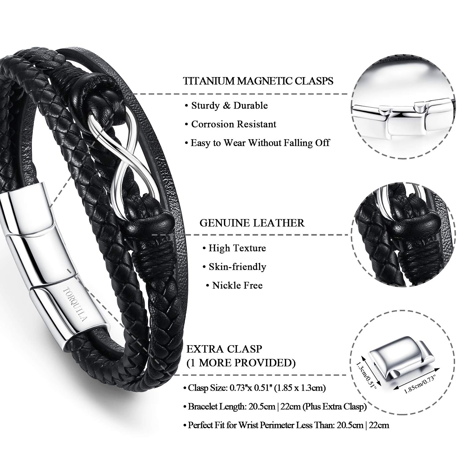 1 More Clasp Included Length 8.66 TORQUILA Mens Bracelets Braided Rope Genuine Leather Bracelet for Men 22cm # Infinity Handmade Adjustable Mens Bracelet with Silver Titanium Magnetic Clasp