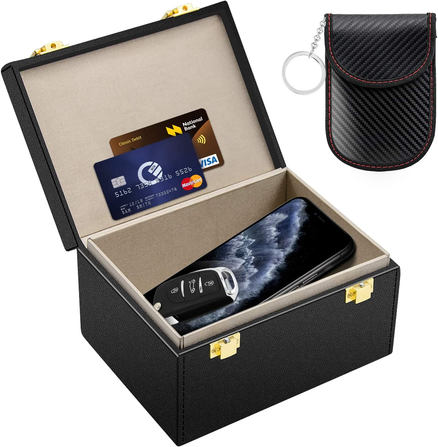 Kolaura Faraday Box for Car Keys, Signal Blocker, Car Key Signal Blocker Box with Car Security Key Pouch, RFID Blocking Key Box for Phone Call, Cards, Anti-Theif Keyless Box