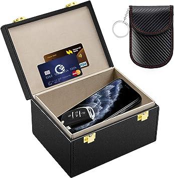Kolaura Caja de Faraday, Bloqueo Individual para Llave de Coche con Funda de Piel Segura, Funda de Bloqueo de señal antirrobo para teléfonos, Tarjetas, Llamadas y RFID: Amazon.es: Coche y moto