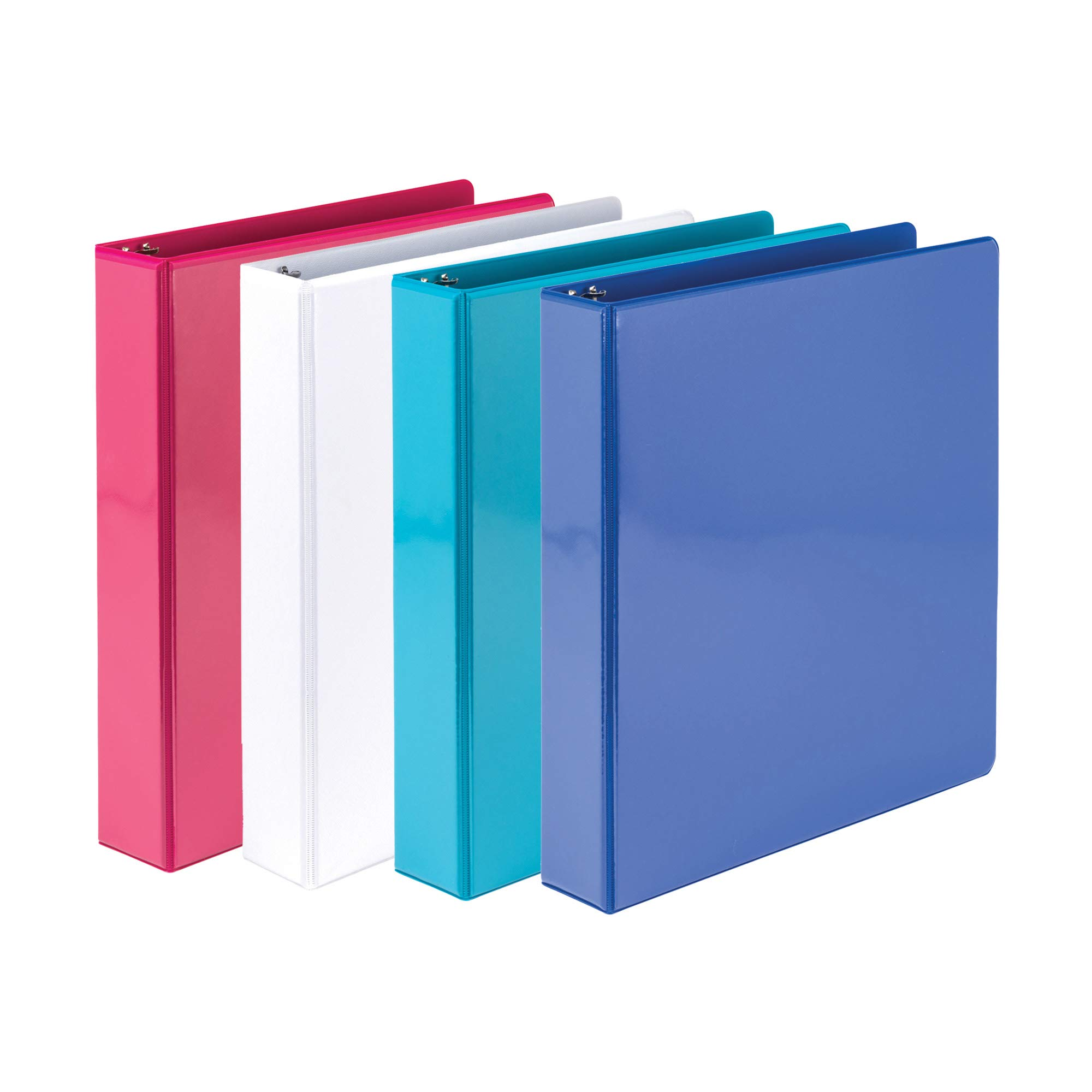 Samsill 1.5 Inch Round Ring Binders/Customizable Clear View Binder/Bulk Binder 4 Pack / 3 Ring Binder / 1.5 Inch Binder/Fashion Color Assortment by Samsill
