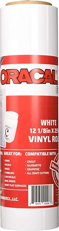 24 x 30 Ft Roll of Oracal 651 White Vinyl on 3 Inch Core for Craft Cutters and Vinyl Sign Cutters