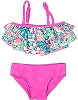 Floatimini Little Girls' Flamingo Tropical Floral Print Tiered Bikini Set