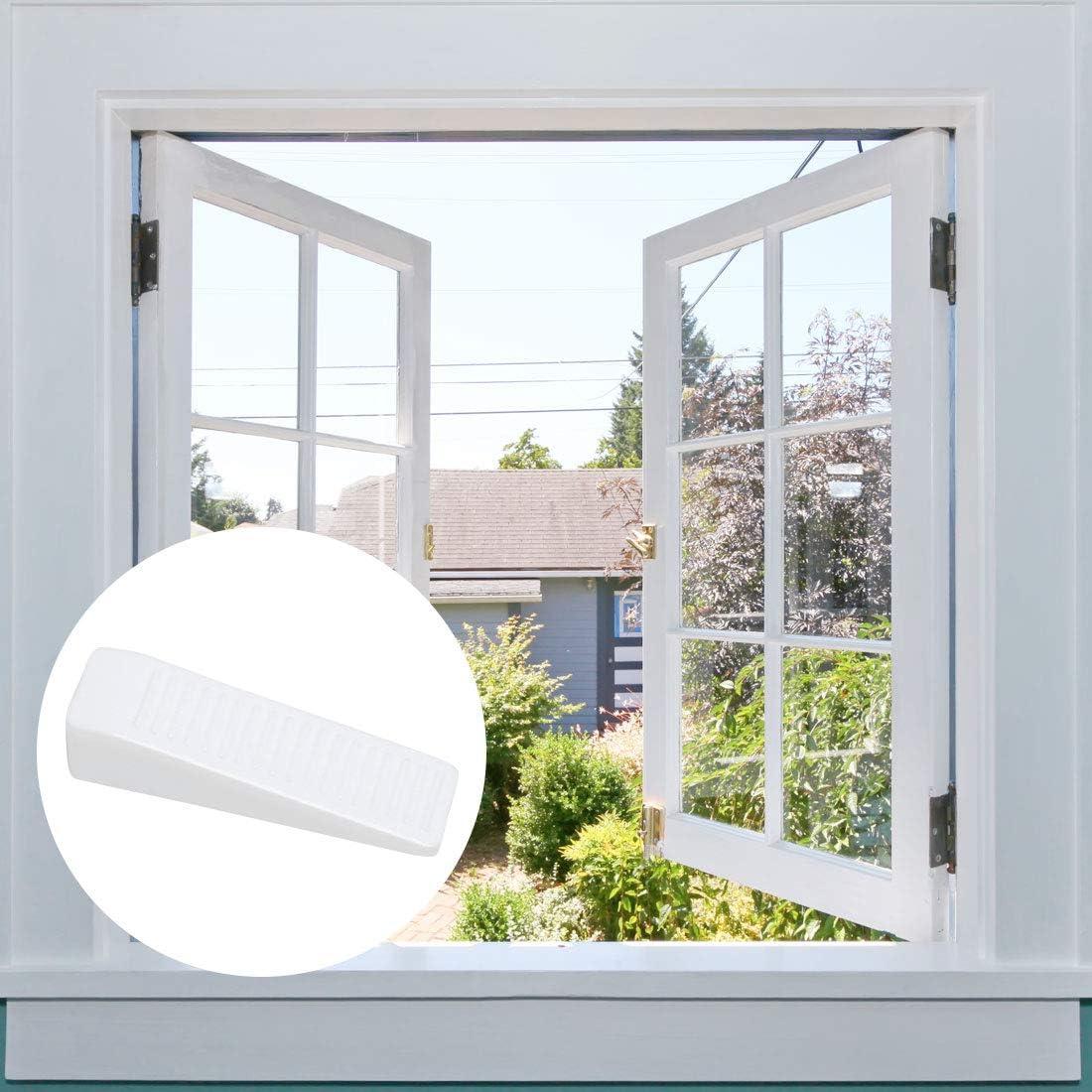 White uxcell Plastic Door Stopper Multi-surface Door Stop Wedge Wedges Door Gaps Flexible and Non-scratching Door Holder 2 Pack