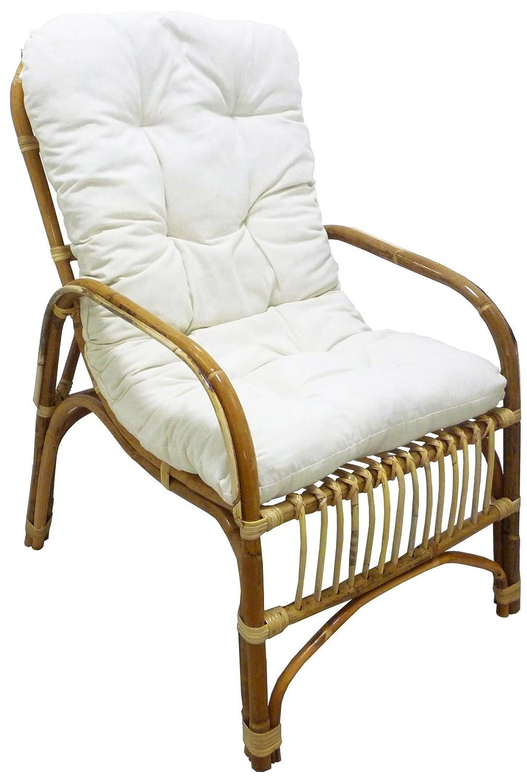 Poltrona sedia Manao in vimini bambù rattan naturale con cuscino per casa salotto Savino Fiorenzo