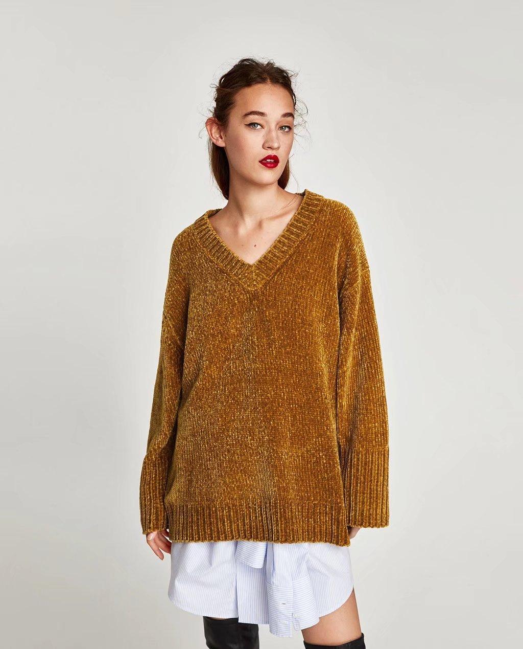 SZYL-Sweater Damen Rollkragen Pullover V-Ausschnitt mit Langen V-Ausschnitt Frauen
