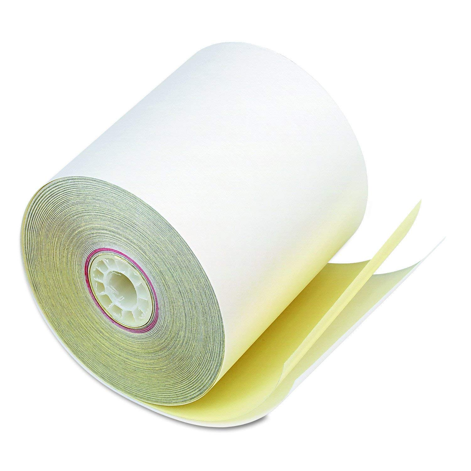 PM Company 07706 Carbonless Duplicate Cash Register Rolls, 3'' X 90', White/Canary, 50 Rolls/ctn (2-Pack)