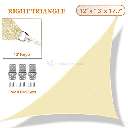 TANG Sunshades Depot 12 x 13 x 17.7 Sun Shade Sail Right Triangle Permeable Canopy Tan Beige Custom Commercial Standard 180 GSM HDPE