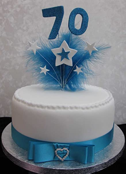 70th Birthday Cake Topper With Turquoise Glittered Numbers And
