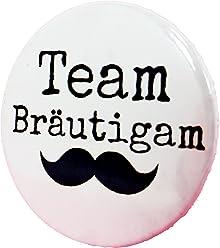 Team Bräutigam Button - Anstecker Moustache Schnurrbart Mann edel JGA Junggesellenabschied 3,8 cm