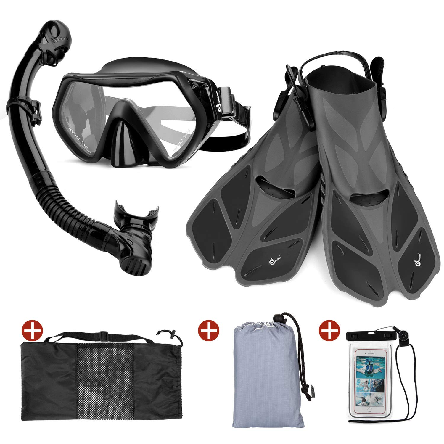 Odoland Snorkel Set 6-in-1 Snorkeling Packages, Diving Mask with Splash Guard Snorkel and Adjustable Swim Fins and Lightweight Mesh Bag and Waterproof Case and Beach Blanket by Odoland