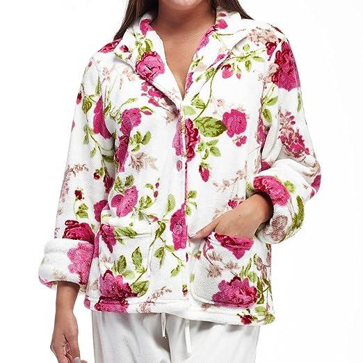 76cfae08604 La Cera Women s Plus-Size Floral Microfleece Bed Jacket at Amazon Women s  Clothing store