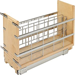 Rev-A-Shelf 447-BCBBSC-8C 447 Series 8 Inch Wide Pull Out Foil, Wrap, Sheet, and Tray Divider Cabinet Organizer for Kitchen Base Cabinets