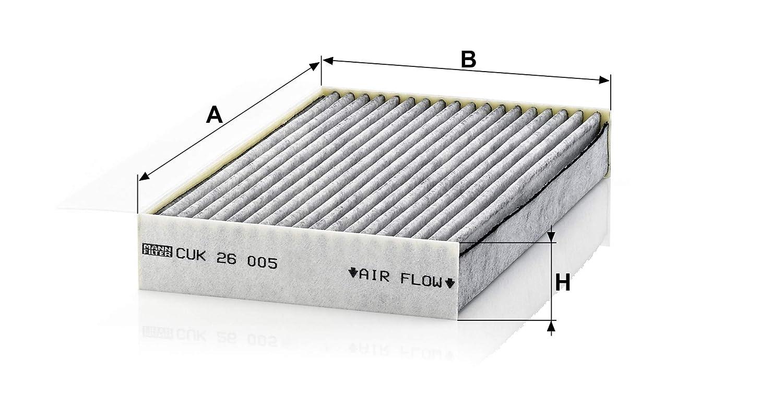 MANN-FILTER Original Filtro de Habitáculo CUK 26 005 - Filtro antipolen con carbón activo - Para automóviles: Amazon.es: Coche y moto