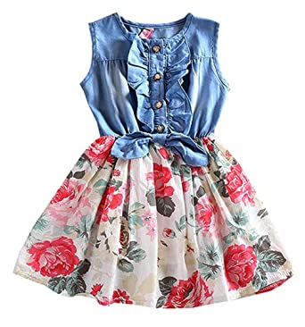 c398ccccee90 Tkiames Little Girls Easter Dress Spring Summer Dress Denim Floral Swing  Skirt with Belt Girls Fashion