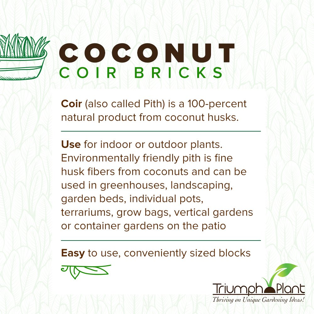 Coconut Coir Fiber - 4 Pack of Convenient Blocks - All Natural and Environmentally Friendly Coconut Peat by Triumph Plant (Image #3)