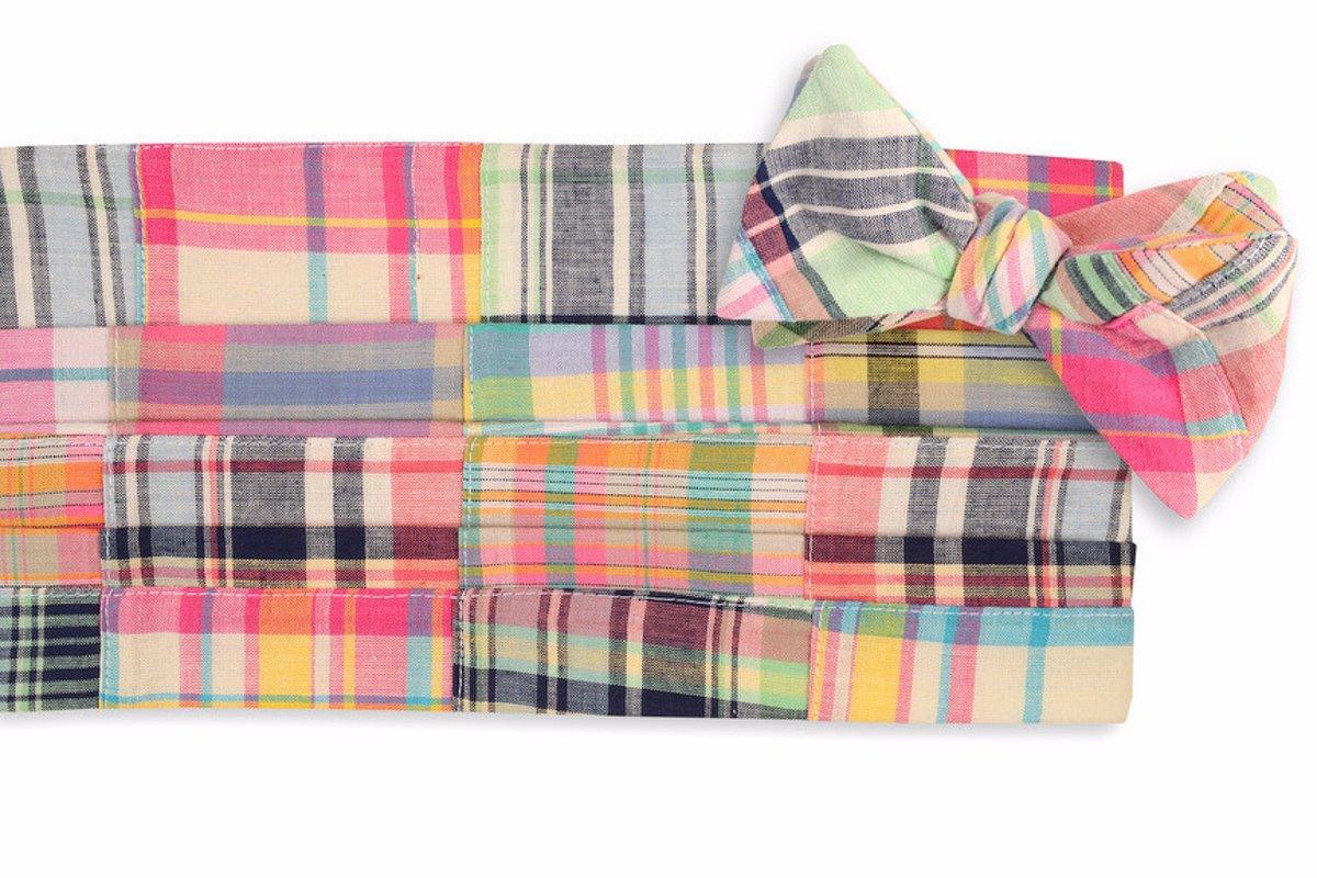 High Cotton Men's Self Tie Crawdad Patchwork Cummerbund Set