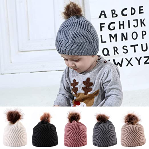 oenbopo Baby Winter Warm Knit Hat Infant Toddler Kid Crochet Pom Pom Ball  Beanie Cap Unisex 9fd17b3919a