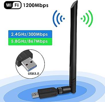 penobon WiFi USB Adaptador, Antena WiFi USB Inalámbrico Dual Band 2.4G / 5.8G 802.11 AC WiFi Dongle con Antena de 5dBi Receptor Soporte Windows 10/8/8.1/7/Vista/XP/2000,Mac OS 10.4-10.12: Amazon.es: Electrónica