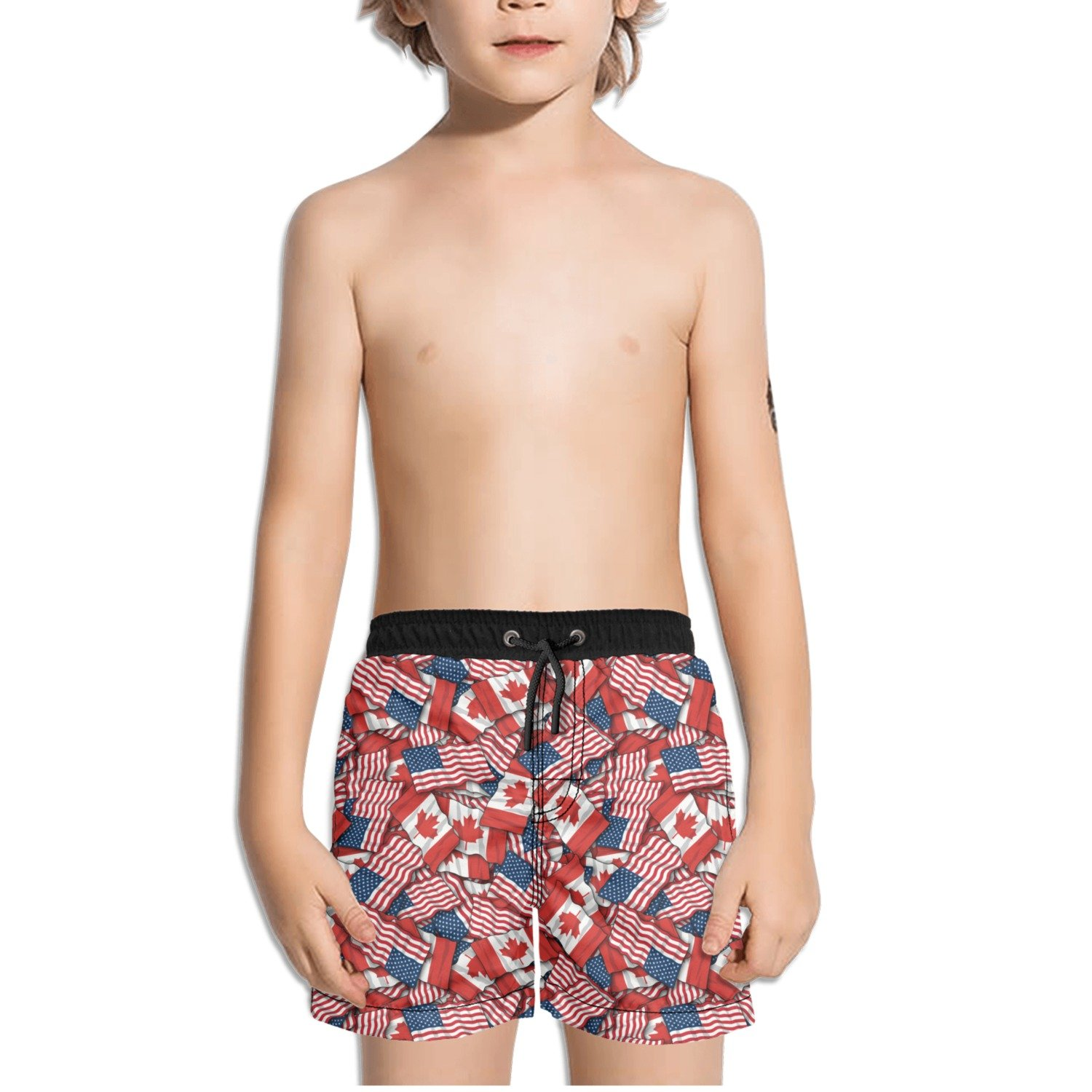 FullBo Canadian American Flag Pattern Little Boys Short Swim Trunks Quick Dry Beach Shorts