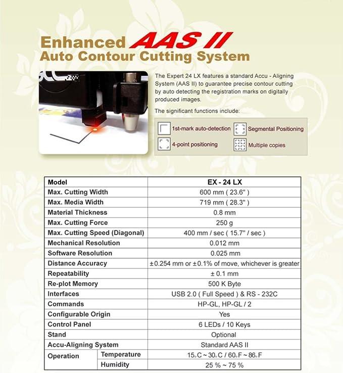 GCC Professional Expert II LX Cortador de Vinilo de 24 Pulgadas de Ancho con Sistema de alineación para Corte de Contorno: Amazon.es: Electrónica