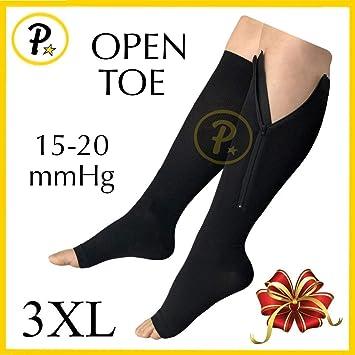 a1bd0a4a98 NEW (BIG & TALL 3XL) Open Toe Knee Length Zipper Up Compression Hosiery Calf