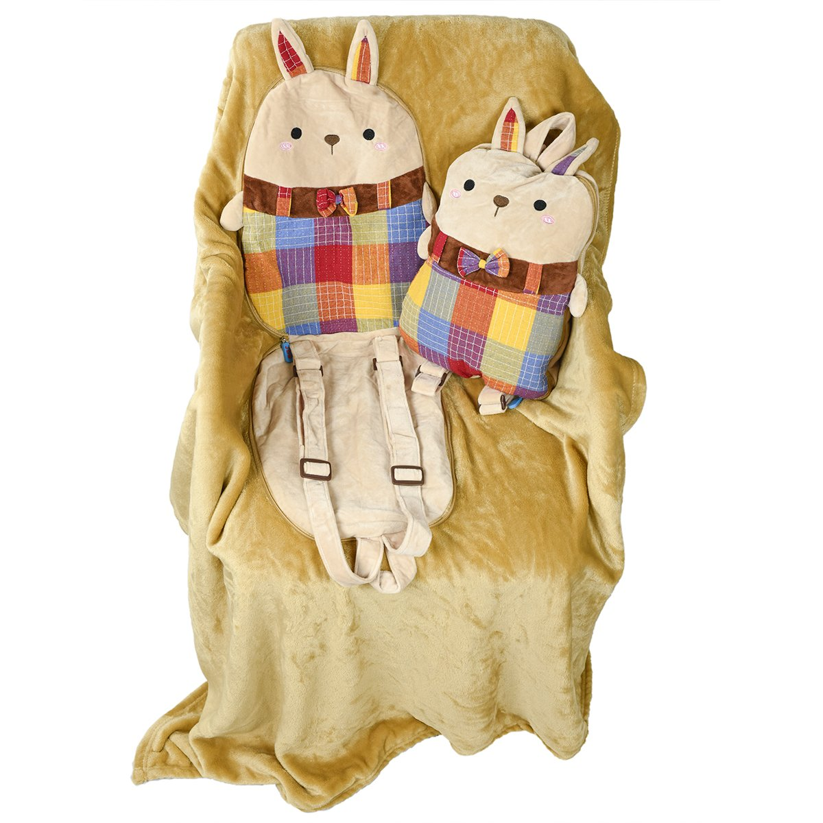 Plush Packable Portable Back Buddy Pillow for Kids Senmiya Bunny Stuffed Animal Cute Throw Blanket Fuzzy Cuddle Pillow Pet Beige Rabbit Travel Nap Blanket