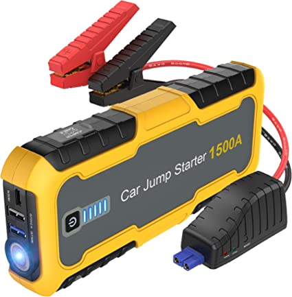 for Engines up to 6.0L Gas//5.0L Diesel TrekPow 2019 Upgraded 800A Peak Auto Battery Booster Portable Power Pack with Display Smart Jumper Cables Quick Charge 3.0 Car Jump Starter LED Flashlight