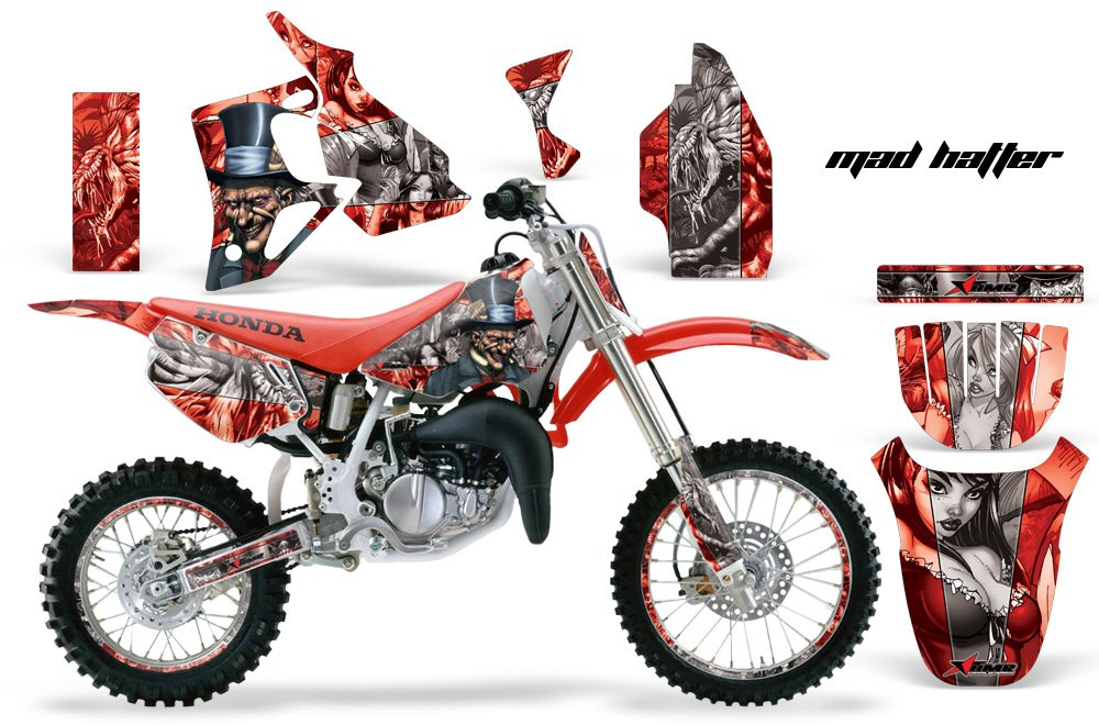 AMR Racing Graphics Kit for MX Honda CR80 1996-2002 MAD HATTER SILVER RED