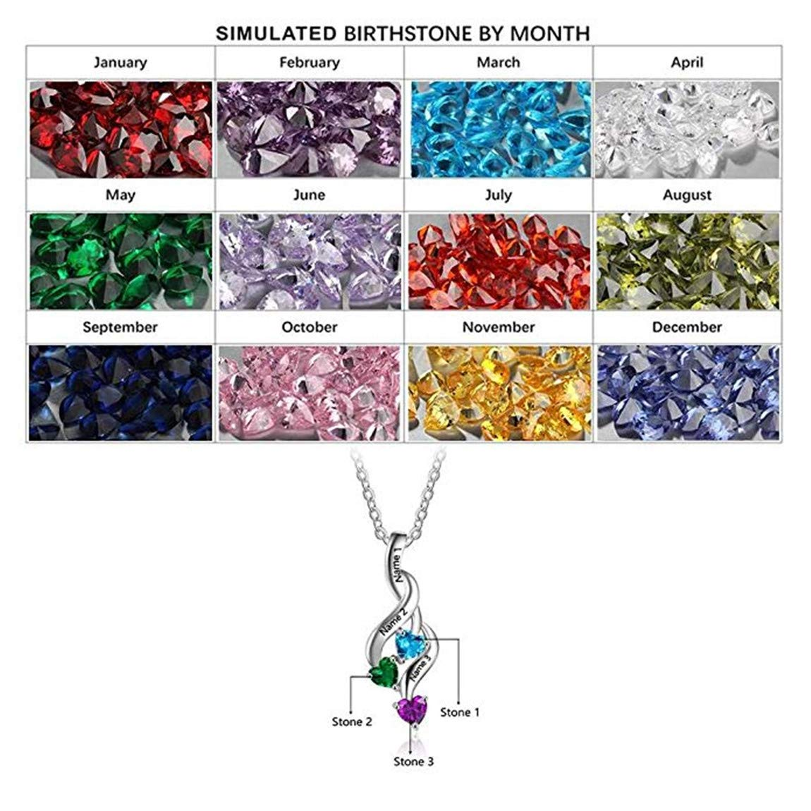 Mothers Day set adil 925 Sterling Silver Personalized 3 Heart Simulated Birthstone Mothers Pendant Necklace with 3 Names Family Pendants for Women ,Birthday