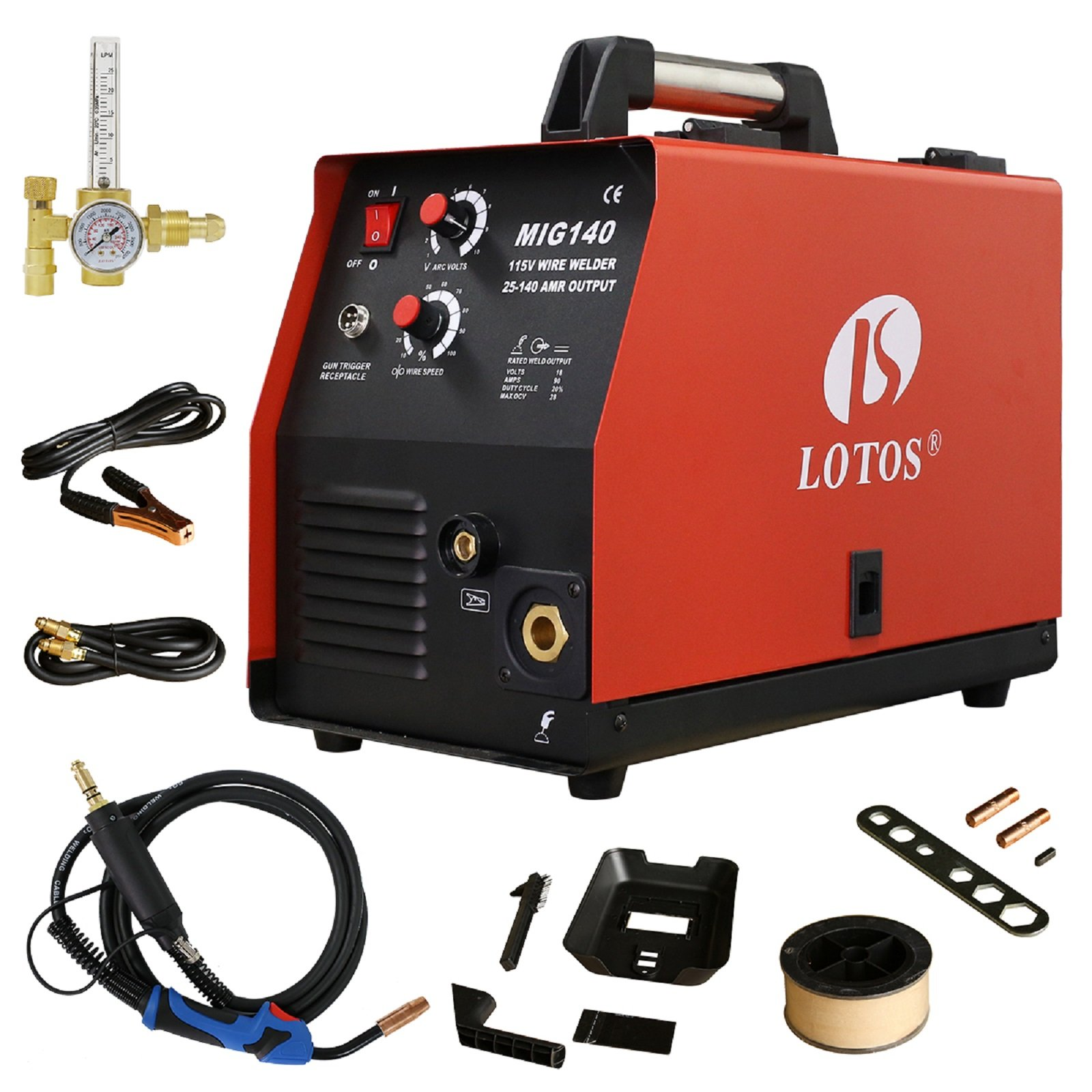 Lotos MIG140 140 Amp MIG Wire Welder Flux Core Welder and Aluminum Gas Shielded Welding with 2T/4T Switch, 110V, Red by Lotos Technology