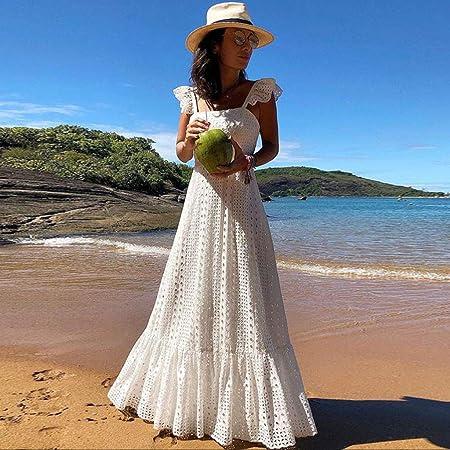 Overdose Vestidos Mujeres Verano Boho con Tiras de la Manga de la Colmena Sexy Dot Impreso Largo Maxi Party Beach Vestidos Lindos Vestidos de Novia